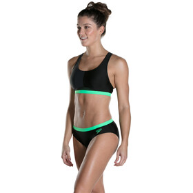 speedo HydrActive Bañadores Mujer, black/oxid grey/fake green